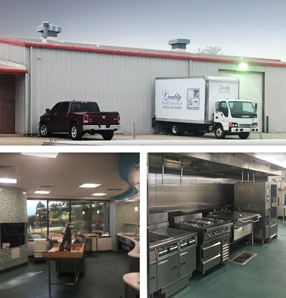 Quality Food Equipment's showing off their custom concept design room, exterior and range room